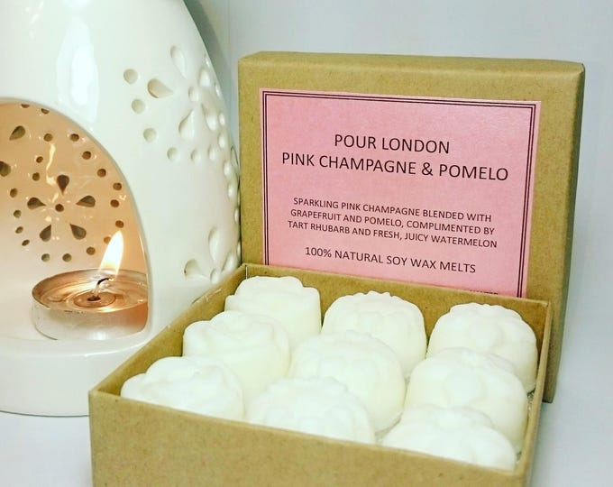 Pink Champagne & Pomelo Scented Soy Wax Melts x 9
