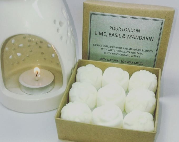 Lime, Basil & Mandarin Eco soy scented wax melts x9