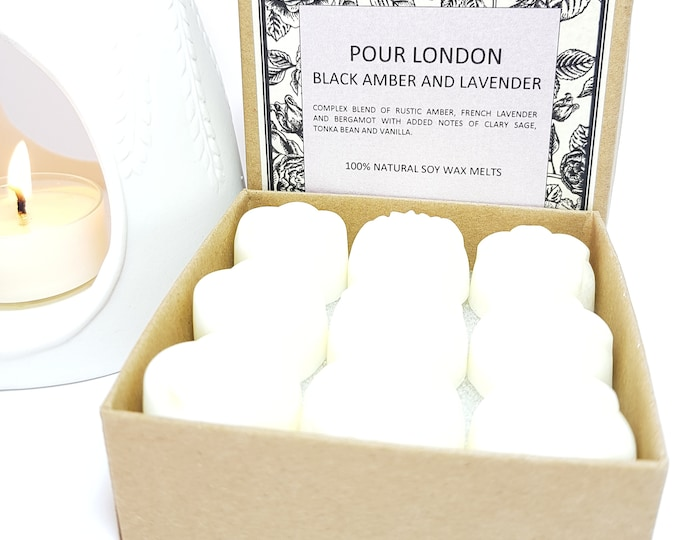 Black Amber & Lavender Soy Wax Melts x 9