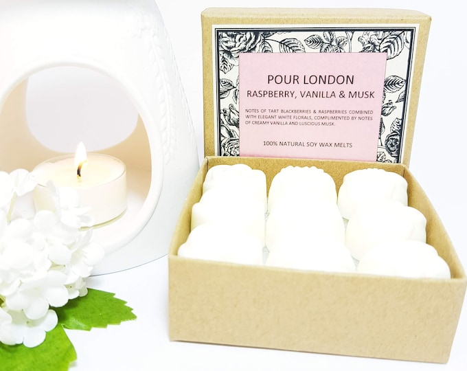 Raspberry, Vanilla & Musk Soy Wax Melts x 9