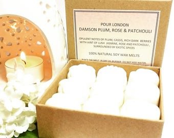 Damson Plum,Rose & Patchouli Scented Soy Wax Melts x 9