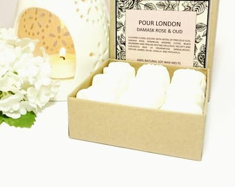 Damask Rose & Oud Scented Soy Wax Melts x 9