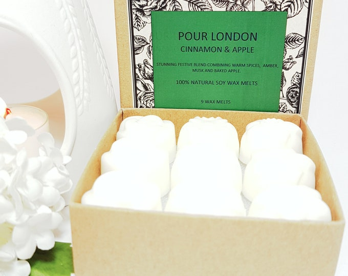 Cinnamon & Apple Scented Soy Wax Melts x 9