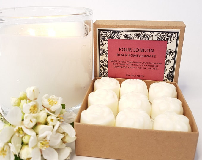 Black Pomegranate Scented Soy Wax Melts x 9