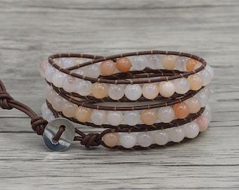 Leather Wrap bracelet Yoga bracelet pink aventurine beads bracelet 3 wraps bracelet pink natural stone bracelet Gyspy bracelet SL-0692