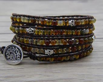 agate bracelet leather wrap bracelet skull bracelet Dark brown Dragon grain beads bracelet agate bracelet christmas gift bracelet SL-0591