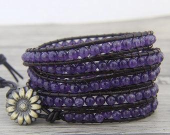 Amethyst bracelet Purple Gemstone bead wrap bracelet Amethyst bead bracelet BOHO leather wrap bracelet February Birthstone bracelet SL-0472
