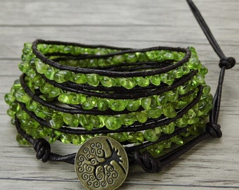 Olive Gemstone wrap bracelet peridot bead wrap bracelet Raw stone bead bracelet leather wrap bracelet BOHO bracelet bead jewelry SL-0438