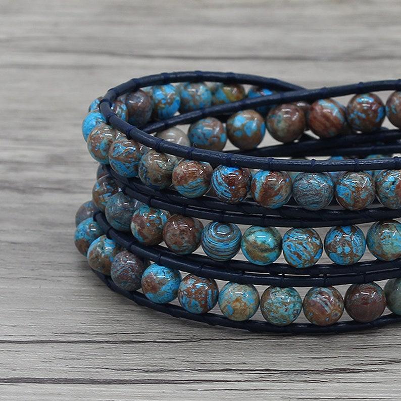 Blue Decorative Pattern agate bead bracelet Leather wrap Bracelet Boho wrap bracelet Blue agate bead bracelet 3wraps beaded bracelet SL-0731
