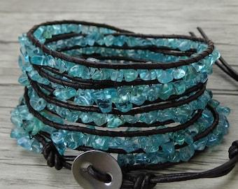 Blue wrap bracelet Apatite bead bracelet Raw stone bracelet leather bead bracelet BOHO wrap bracelet long strand bracelet jewelry SL-0439