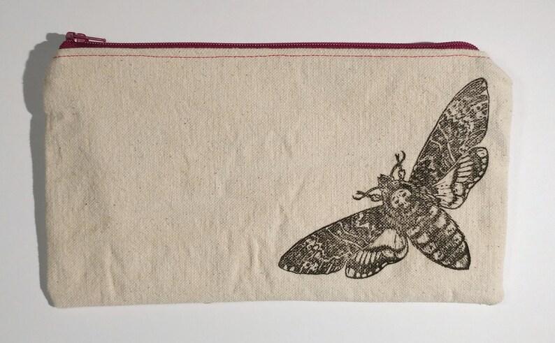 zipper pouchesdeath/'s head mothblock printed