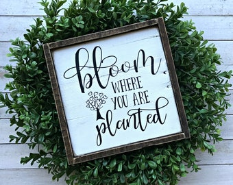 Bloom Where You Are Planted | Pallet Sign | Wood Sign | Framed Sign | Spring Decor | Spring Sign | Farmhouse | Rustic | Country Decor