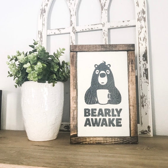 Bearly Awake Coffee Bar Sign Pallet Sign Wood Sign Cabin Decor Small Wood Sign Gallery Wall Coffee Bar Decor
