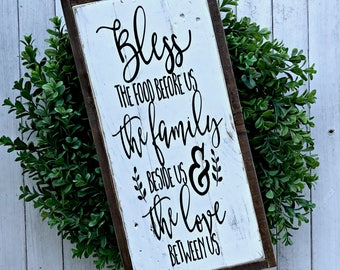 Bless the Food Before Us the Family Beside Us & the Love Between Us | Pallet Sign | Wood Sign | Dining Room Sign | Farmhouse | Country
