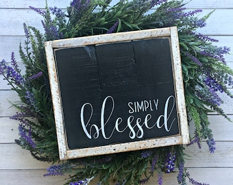 Simply Blessed | Pallet Sign | Wood Sign | Blessed Sign | Framed Wood Sign | Handwritten Sign | Rustic Decor | Farmhouse | Gallery