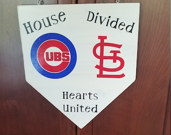 House Divided Hearts united, Front door sign, Baseball family divided,  House divided home plate sign, House united, baseball decor