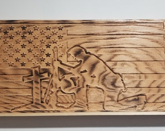 Wooden flag, fallen solider flag, kneeling solider flag, fallen solider engraved flag, wooden flag of kneeling solider