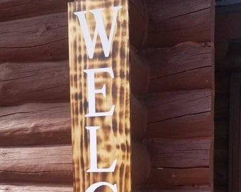 WELCOME Front porch wooden sign, front porch sign, Welcome sign, Vertical Welcome sign, entry way sign, rustic Welcome sign, Black welcome