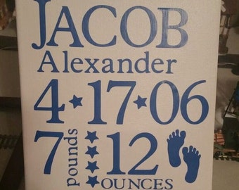 Personalize baby name sign, Nursery Decor, Baby Birth announcement, with weight and name girl or boy, baby birth stats