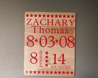 Personalize baby name sign, Nursery Decor, Baby Birth announcement, with weight and name girl or boy, baby birth stats, wood baby stat sign