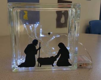 Manger, Mary and Joseph, Jesus, Christmas gift, Christmas glass bloc,  8x8 lighted glass block