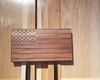 Wooden flag, Engraved small american flag, Small american flag, Wooden american flag, engraved american flag,