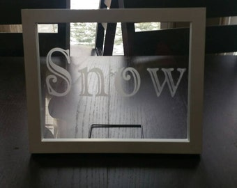 Personalized etched glass, etched floating frame, etched last name, etched glass gift, wedding gift, custom etched glass