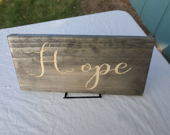 hope, engraved hope sign, home decor, rustic decor, religious sing, uplifting saying