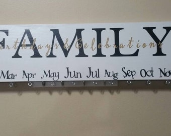 Family birthday wood sign, celebration sign, wood birthday sign, anniversary sign, special dates, family calendar