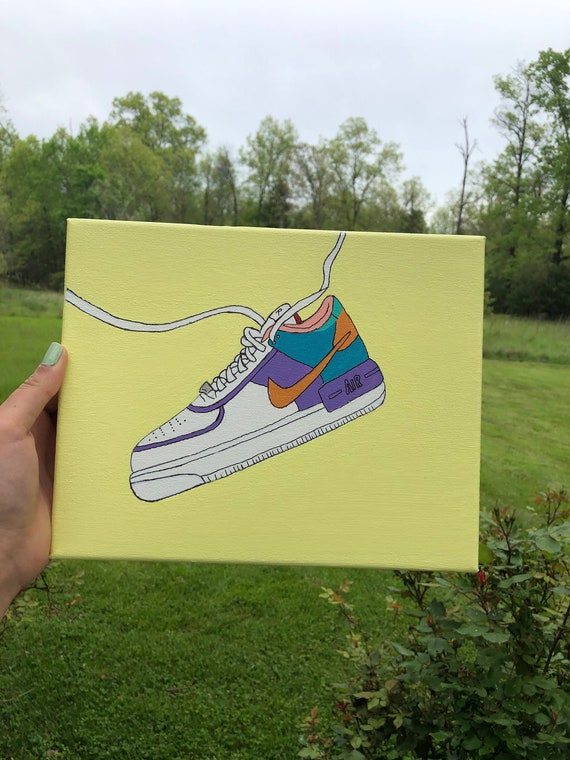 Nike Air Force 1 Canvas Painitng   Etsy