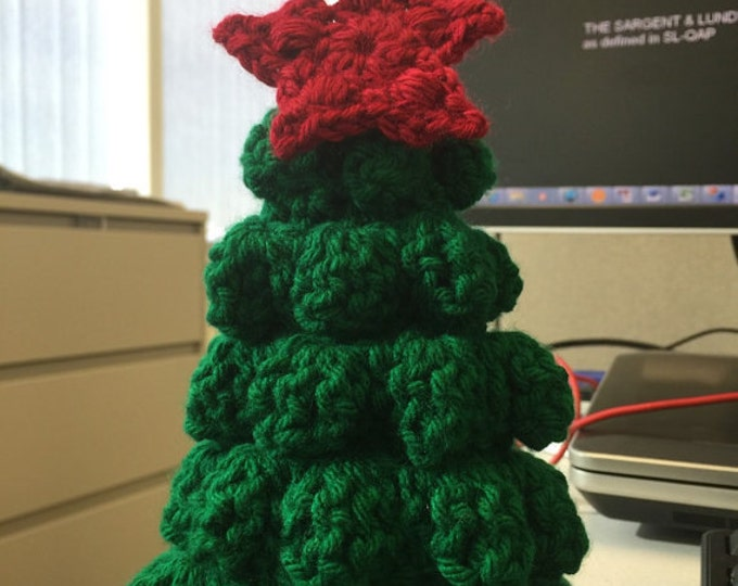 PATTERN (INSTANT DOWNLOAD) Christmas Tree Cute Office Home Decoration Knit Crochet Handmade Ornament Red Green Accent Garland