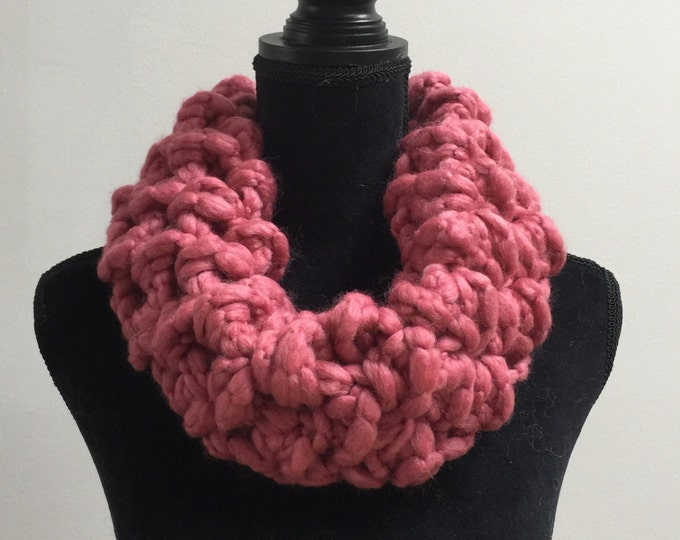 Handmade Scarf Cowl Bulky Warm Soft Wool Blend Dirty Pink Large Oversized Textured