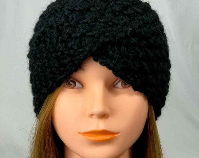 FREE SHIPPING Knitted Ear Warmer Headband Winter Handmade Twist Knit Crochet Headwrap  Designer Unique Hat Beanie Messy Bun Black