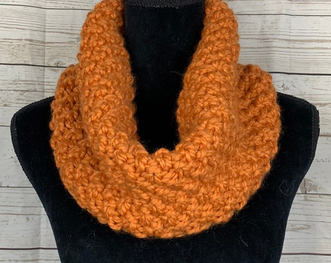 Handmade Scarf Cowl Bulky Warm Soft Wool Blend Brown Mustard Large Oversized Textured Thick Infinity Crochet Knit