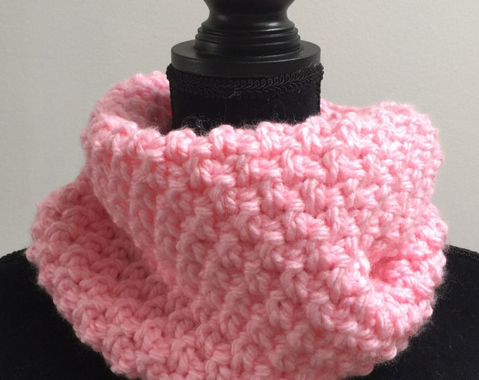 Handmade Scarf Cowl Bulky Warm Soft Wool Blend Brown Baby Pink Large Oversized Textured Thick Infinity Crochet Knit