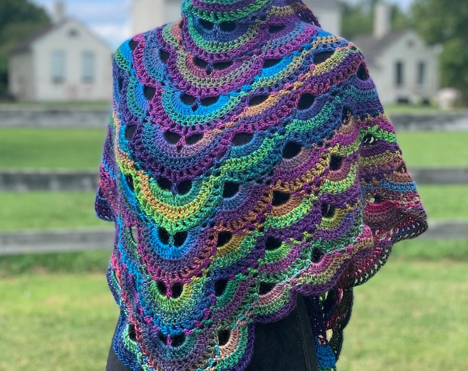 Handmade Oversized Boho Bohemian Crochet Shawl Wrap Large Scarf Unique Designer Free Shipping Gypsy Triangle Purple Pink