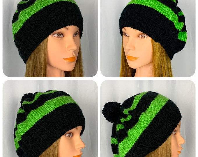 Handmade Knitted Crochet Slouchy Beanie Hat Unisex Stylish Fashion Pompom Beret Designer Unique Oversized Boho Hipster Knit Green Black Stri
