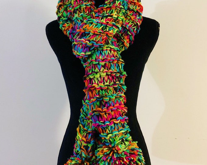 FREE Shipping Mega Bulky Scarf Cowl Wrap Large Handmade Rainbow Multicolor Stripes Knit Crochet Chunky Oversized Two Pompoms