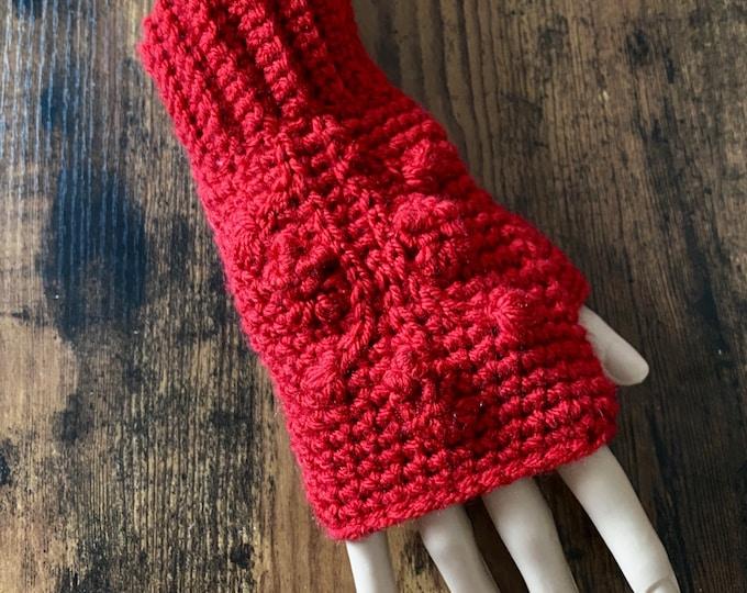 FREE Shipping Fingerless Handmade Crochet Knit Gloves Mittens Wristwarmers Handwarmers Mits Cute Acrylic Boho Red