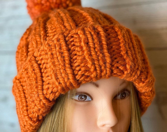 FREE SHIPPING Oversized Cable Beanie Hat Crochet Knit Handmade Wool Acrylic Pompom Unique Designer Unisex Adult Orange Bulky Slouchy