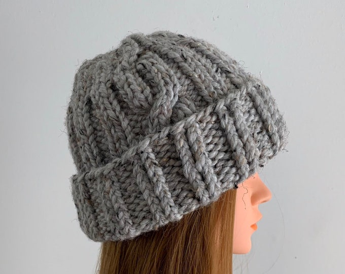 FREE SHIPPING Oversized Cable Beanie Hat Crochet Knit Handmade Wool Acrylic Blend Unique Designer Unisex Adult Light Gray Bulky Slouchy