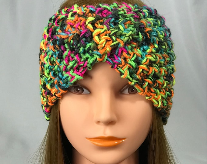Knitted Ear Warmer Headband Winter Handmade Multicolor Rainbow Head Band Ski Yoga Twisted Wrap Headwarmer Crochet Boho Rainbow Free Shipping