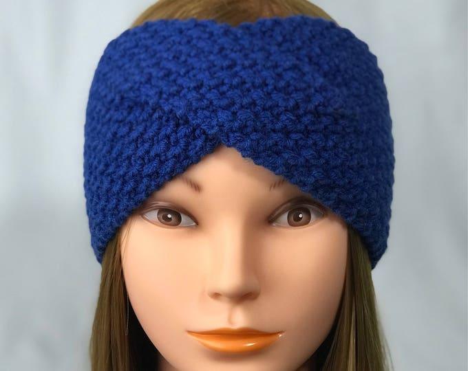 FREE SHIPPING Knitted Ear Warmer Headband Winter Handmade Twist Knit Crochet Headwrap  Designer Unique Hat Beanie Messy Bun Electric Blue
