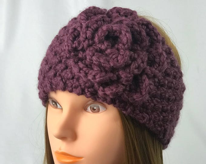 FREE SHIPPING Knitted Ear Warmer Headband Winter Handmade Twist Knit Crochet Flower Headwrap Boho Unique Hat Beanie Messy Bun Burgundy
