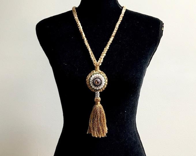 Boho Crochet Beaded Necklace Handmade Cotton Jewelry Unique Neck Accessory Fashion Designer Custom Statement Copper Beige Cream