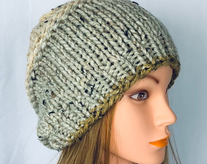 Handmade Knitted Crochet Slouchy Beanie Hat Unisex Stylish Fashion Textured Designer Unique Oversized Boho Hipster Knit