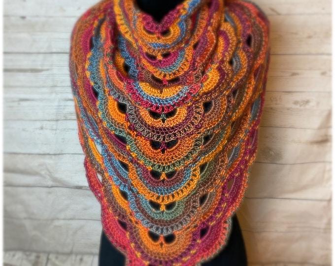 Handmade Oversized Boho Bohemian Crochet Shawl Wrap Large Scarf Unique Designer Free Shipping Gypsy Triangle Orange Red