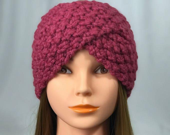 FREE SHIPPING Knitted Ear Warmer Headband Winter Handmade Twist Knit Crochet Headwrap  Designer Unique Hat Beanie Hot Pink Messy Bun