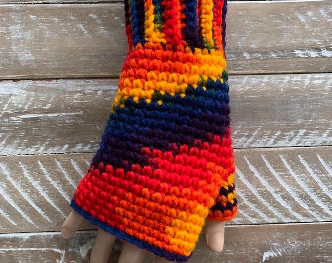 FREE Shipping Fingerless Handmade Crochet Knit Gloves Mittens Wristwarmers Handwarmers Multicolor Mits Cute Acrylic