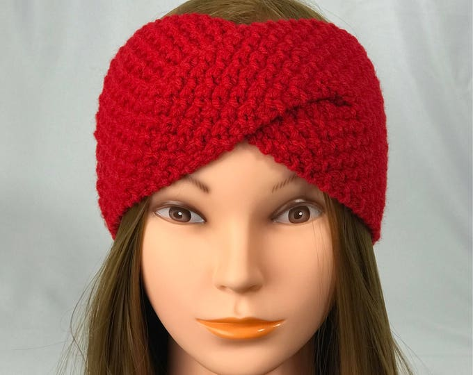 FREE SHIPPING Knitted Ear Warmer Headband Winter Handmade Twist Knit Crochet Headwrap  Designer Unique Hat Beanie Messy Bun Bright Red